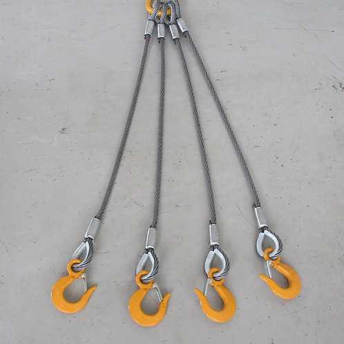 4点吊ワイヤロープ・キトーマスターリンク3.2T・キトースリングフック1.1T