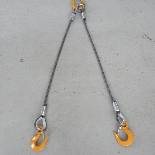 2点吊ワイヤロープ(直径12mm)・キトーマスターリンク2.4T・キトースリングフック1.1T