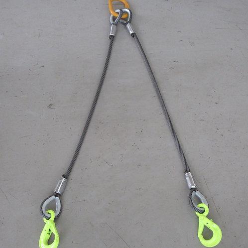 ラッチロックフック付き2点吊ワイヤロープ(直径12mm)・キトーマスターリンク2.4T・マーテックロッキングフック1.2T