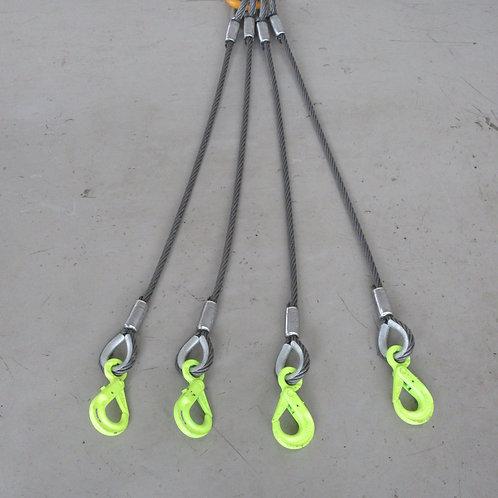 ラッチロックフック付き4点吊ワイヤロープ(直径12mm)・キトーマスターリンク3.2T・キトースリングフック1.1T