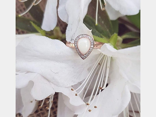 Halo Pear Drop Ring