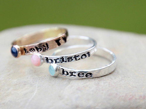 Hand Stamp Custom Keepsake Ring