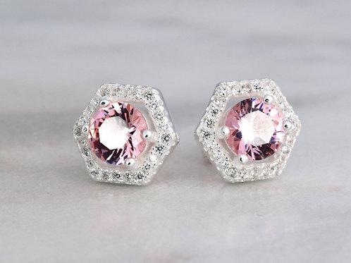 Hexagon Halo Earrings