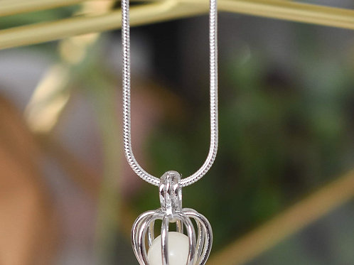 Milkbead cage necklace