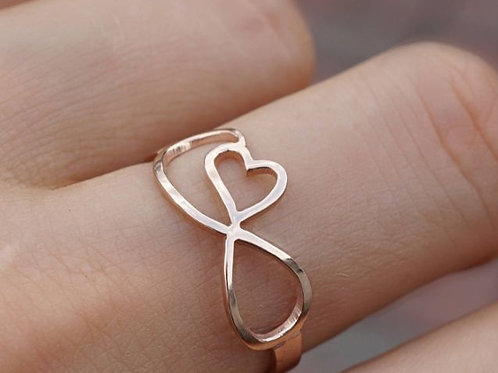 Solid Gold Infinty Ring With Heart