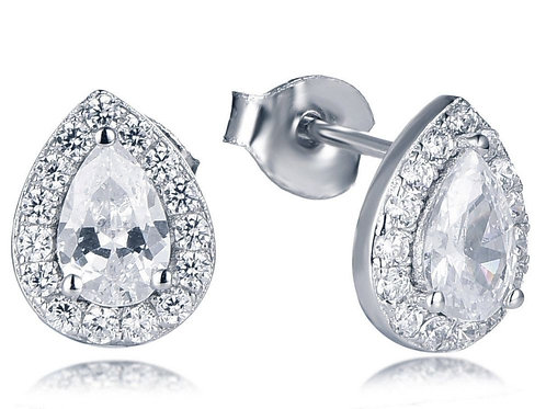 Pear Halo Earrings
