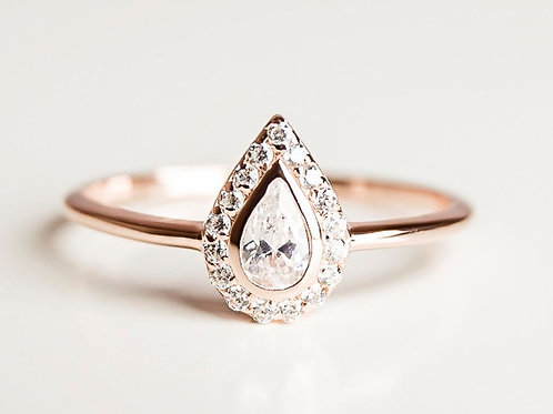 Solid Gold Tear Drop Ring