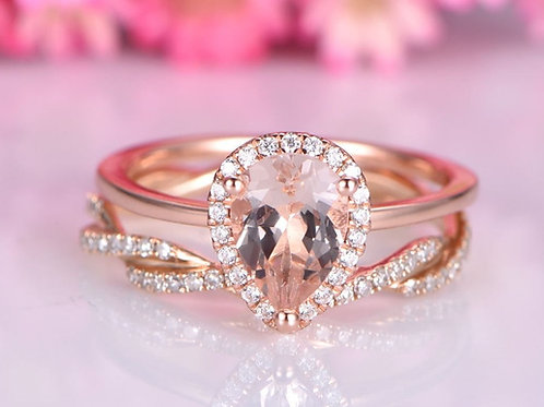 Real Gold and Diamond Tear Drop Wedding Set