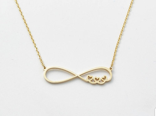 Tripple Heart Infinity Milk Drop Necklace