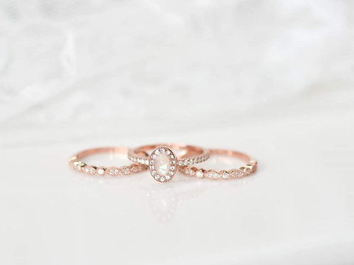 14k rose gold filled trio set milk oval ring