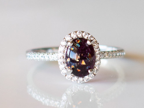 Single Oval Halo Ring