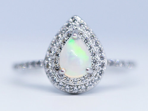 Double Halo Pear Ring
