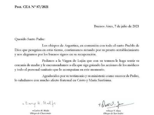 OBISPOS ARGENTINOS REZAN POR LA SALUD DEL PAPA