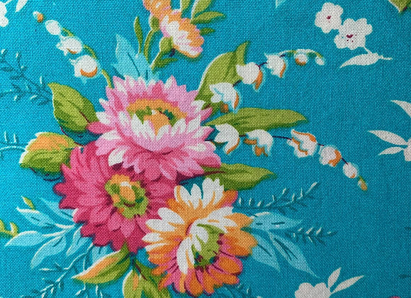 Teal with Multi-Colored Flowers/Yellow