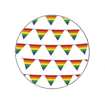 RAINBOW BUNTING BADGE BUTTON PRIDE LGBT LESBIAN GAY TRANS