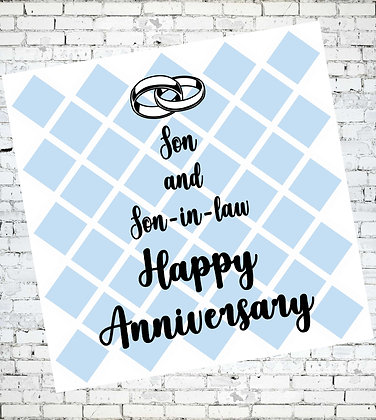 SON AND SON-IN-LAW HAPPY ANNIVERSARY LGBT GAY GREETING CARD