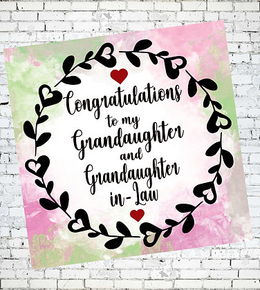 CONGRATULATIONS TO GRANDAUGHTER AND GRANDAUGHTER-IN-LAW LGBT LESBIAN