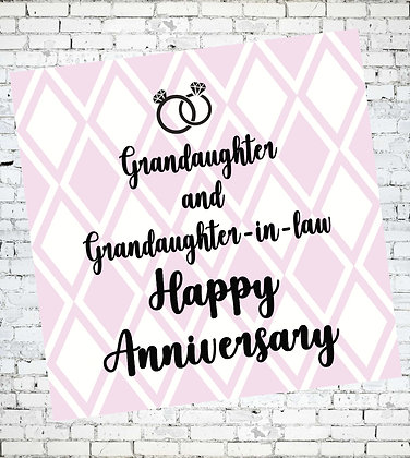 GRANDAUGHTER AND GRANDAUGHTER-IN-LAW, HAPPY ANNIVERSARY LESBIAN GREETING CARD LGBT