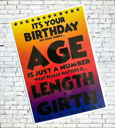 AGE IS JUST A NUMBER LENGTH GIRTH GAY LGBT GREETING CARD