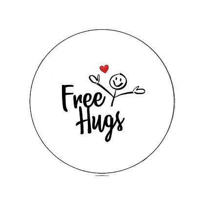 FREE HUGS BADGE PRIDE LGBT GAY LESBIAN TRANS