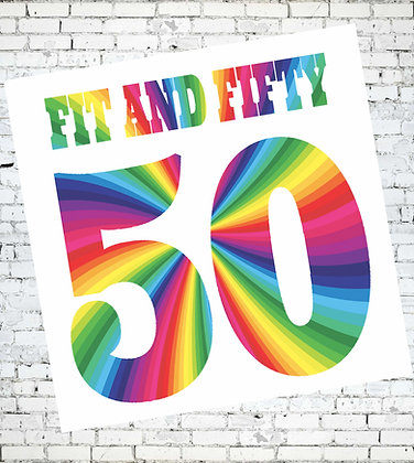 FIT AND FIFTY RAINBOW CARD BIRTHDAY LGBT GAY LESBIAN