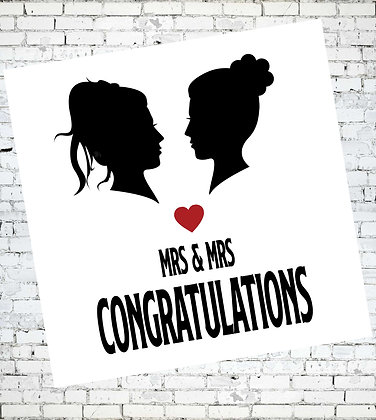 MRS AND MRS CONGRATULATIONS LGBT LESBIAN GREETING CARD