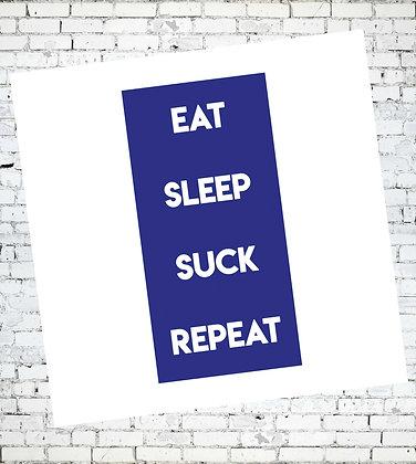 EAT SLEEP SUCK REPEAT LGBT RUDE GREETING CARD