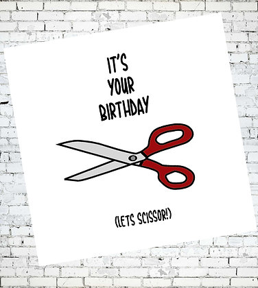 IT'S YOUR BIRTHDAY LETS SCISSOR! LESBIAN LGBT GREETING CARD