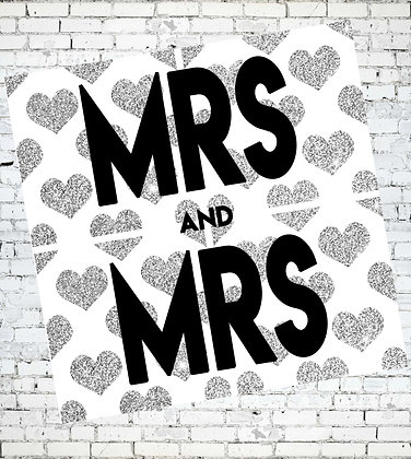 MRS AND MRS HEARTS WEDDING, ANNIVERSARY, ENGAGEMENT, LGBT LESBIAN GREETING CARD