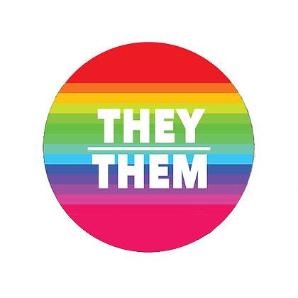 THEY THEM PRONOUNS BADGE RAINBOW LGBT PRIDE