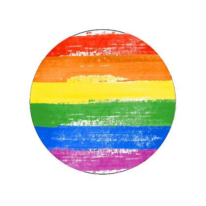 PRIDE RAINBOW BADGE LGBT GAY LESBIAN TRANS