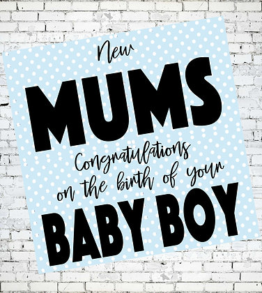 NEW MUMS CONGRATULATIONS ON THE BIRTH OF YOUR BABY BOY SAME SEX PARENTS LGBT LESBIAN GREETING CARD