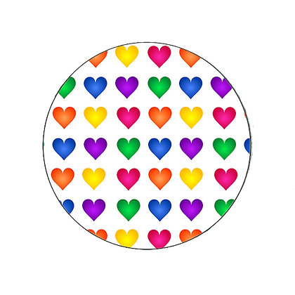 RAINBOW HEART BADGE BUTTON PRIDE LGBT GAY LESBIAN