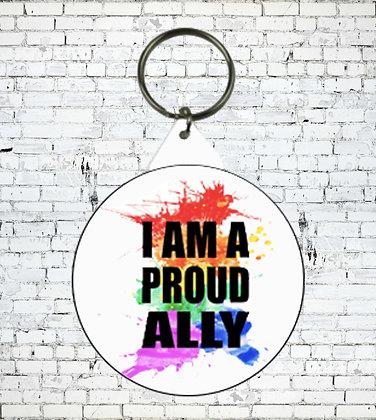 I AM A PROUD ALLY KEYRING LGBT GAY LESBIAN SUPPORT