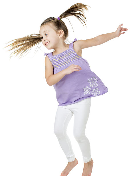 happy joyful child jumping high with rea