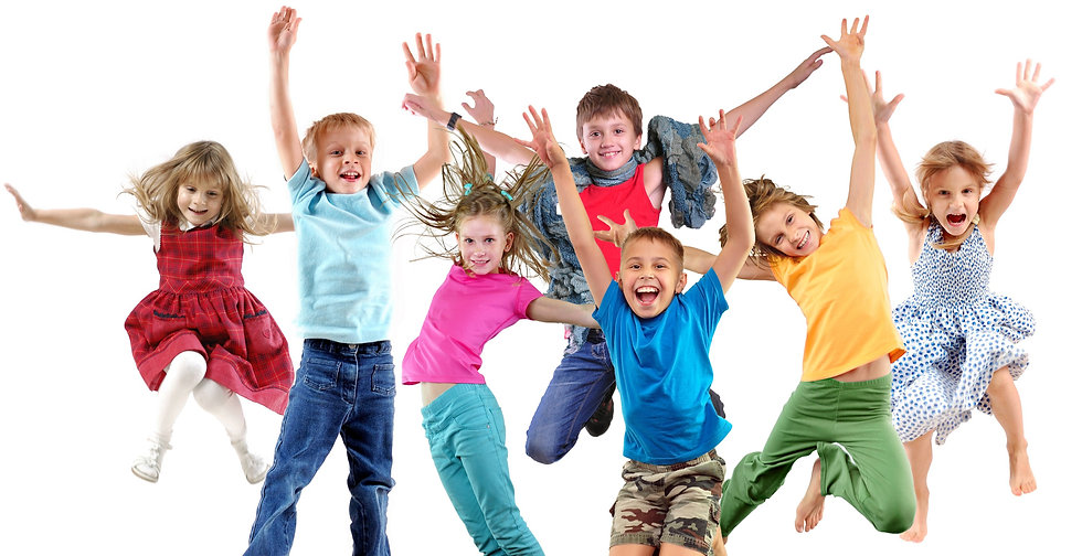 Large group of happy cheerful sportive children jumping, sporting and dancing. Isolated over white b
