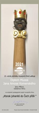 Diplom Muzea Jana Amose Komenského 2021