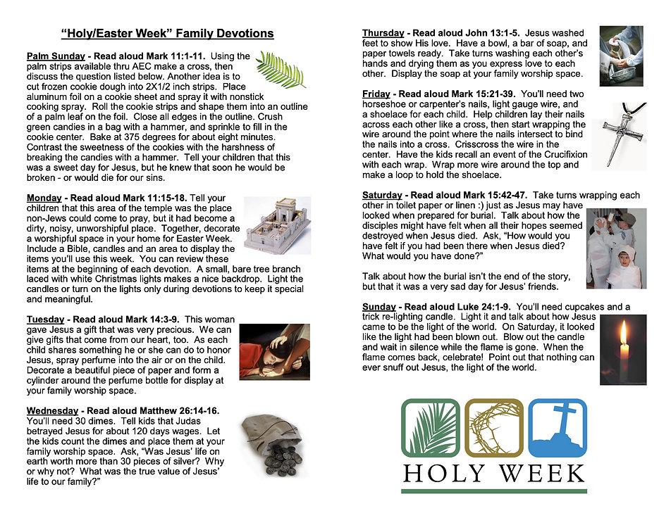 Devotions - Easter Week Family Devotions