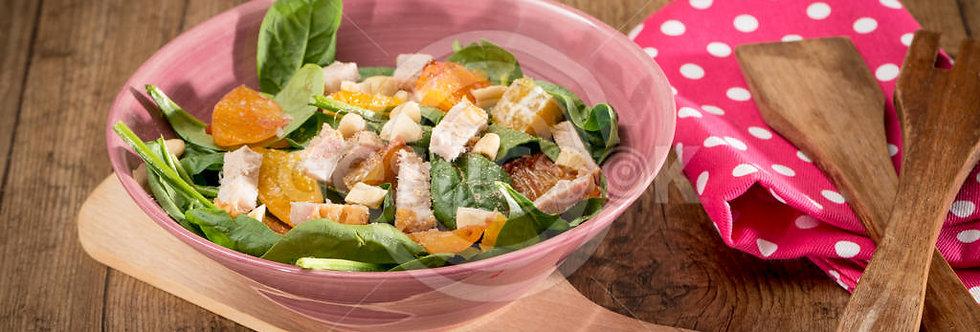 Salada cítrica de lombo assado, abacate e amêndoas