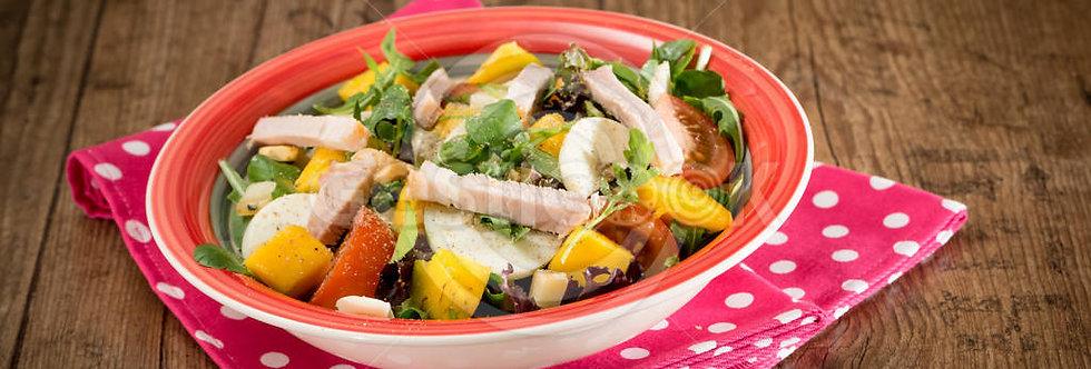 Salada verde de lombo assado e manga