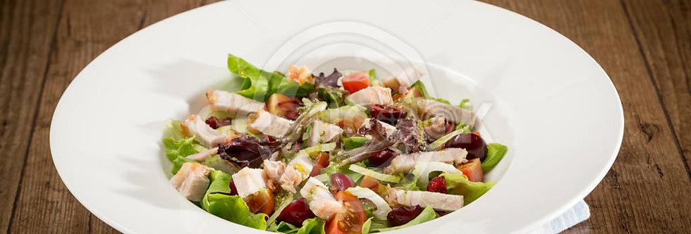 Salada de lombo assado e cerejas