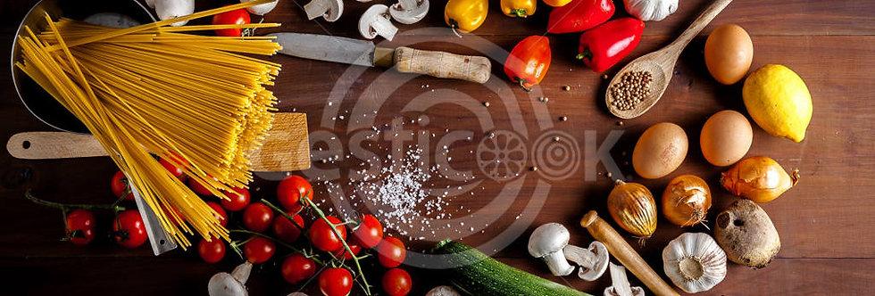Legumes e esparguete