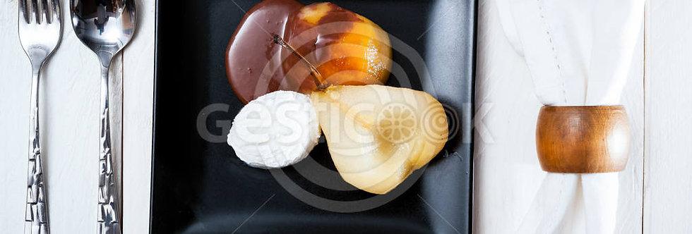 Pêra, chocolate e gelado