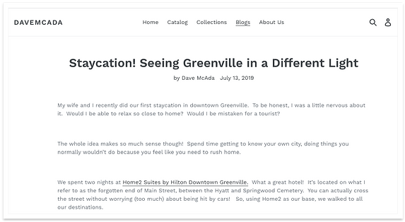 Screenshot of one of the influencers' blogs featuring Home2 Suites