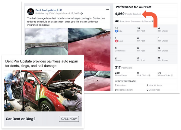 Screenshots of a boosted post and a Call Now promotion that Paris Mountain Marketing ran on Facebook