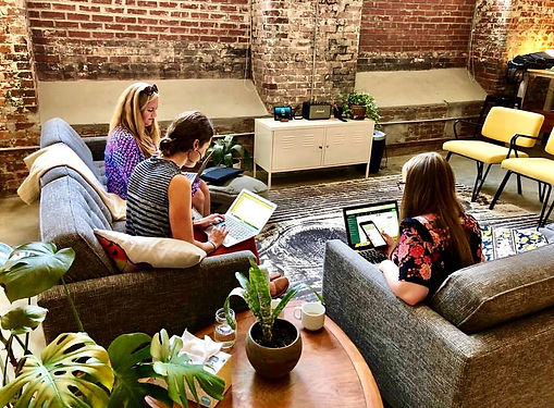 The Paris Mountain Marketing team working together at the office in Greenville SC. Paris Mountain Marketing specializes in digital marketing campaigns for social media, websites, and digital ads and engagement.