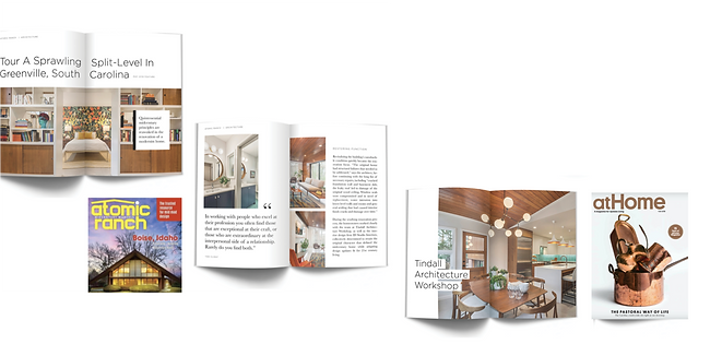 Magazine spreads showing TAW's features in 2 major home style magazines. Paris Mountain Marketing facilitated the features in these prominent design and lifestyle magazines.
