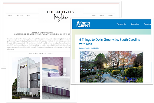 Screenshots of Home2 Suites being featured on prominent influencers' blogs and other sites