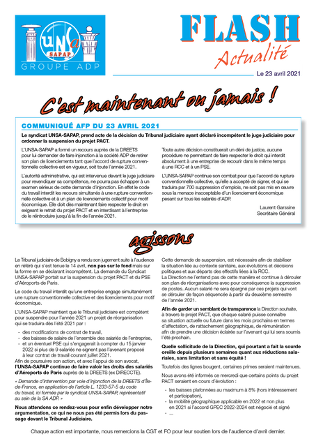 FLASH Actualité du 23 avril 2021