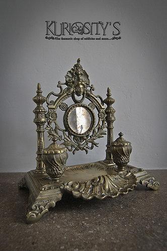 Double encrier en bronze style Louis XV
